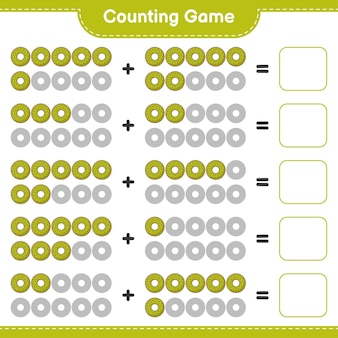 Conteggio del gioco, contare il numero di ciambelle e scrivere il risultato. gioco educativo per bambini, foglio di lavoro stampabile