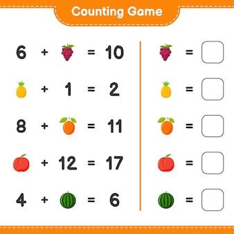 Conteggio del gioco, conta il numero di frutti e scrivi il risultato. gioco educativo per bambini, foglio di lavoro stampabile