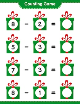 Conta il gioco, conta il numero di scatole regalo e scrivi il risultato. gioco educativo per bambini, foglio di lavoro stampabile