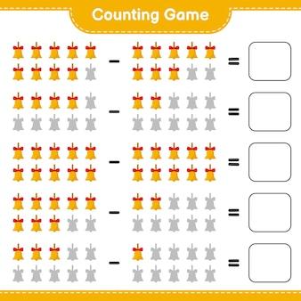 Conteggio del gioco, conta il numero di campane di natale d'oro e scrivi il risultato. gioco educativo per bambini