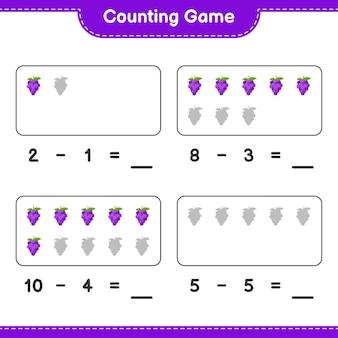 Conteggio del gioco, conta il numero di grape e scrivi il risultato. gioco educativo per bambini, foglio di lavoro stampabile