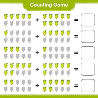 Conteggio del gioco, conta il numero di grape e scrivi il risultato.