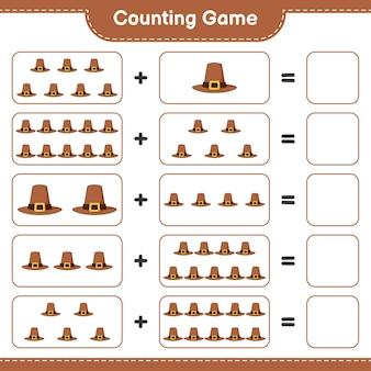 Conta il gioco, conta il numero di hat e scrivi il risultato. gioco educativo per bambini, foglio di lavoro stampabile, illustrazione