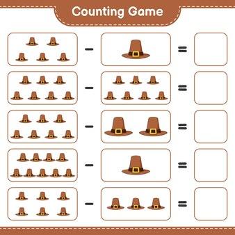 Conteggio del gioco, contare il numero di hat e scrivere il risultato. gioco educativo per bambini, foglio di lavoro stampabile