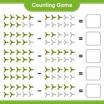 Conta il gioco, conta il numero di bacche di agrifoglio e scrivi il risultato. gioco educativo per bambini