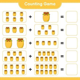 Contando il gioco, conta il numero di jam e scrivi il risultato. gioco educativo per bambini, foglio di lavoro stampabile, illustrazione