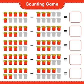Conteggio del gioco, contare il numero di jam e scrivere il risultato. gioco educativo per bambini, foglio di lavoro stampabile