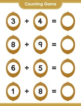 Conteggio del gioco, conta il numero di kiwi e scrivi il risultato. gioco educativo per bambini, foglio di lavoro stampabile