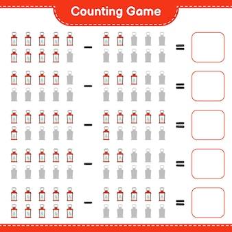 Conteggio del gioco, contare il numero di lanterna e scrivere il risultato. gioco educativo per bambini, foglio di lavoro stampabile