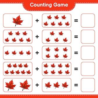 Conta il gioco, conta il numero di maple leaf e scrivi il risultato. gioco educativo per bambini, foglio di lavoro stampabile, illustrazione
