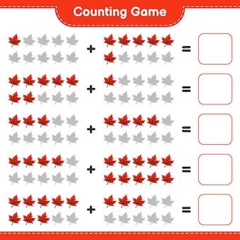 Conteggio del gioco, contare il numero di maple leaf e scrivere il risultato. gioco educativo per bambini, foglio di lavoro stampabile