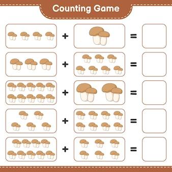 Conta il gioco, conta il numero di funghi porcini e scrivi il risultato. gioco educativo per bambini, foglio di lavoro stampabile, illustrazione