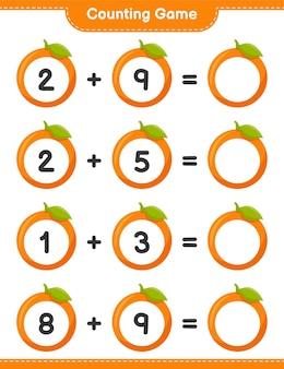 Conteggio del gioco, conta il numero di orange e scrivi il risultato. gioco educativo per bambini, foglio di lavoro stampabile