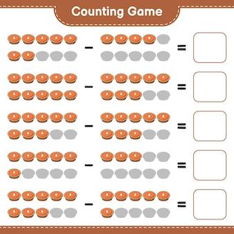 Conteggio del gioco, contare il numero di torta e scrivere il risultato. gioco educativo per bambini, foglio di lavoro stampabile