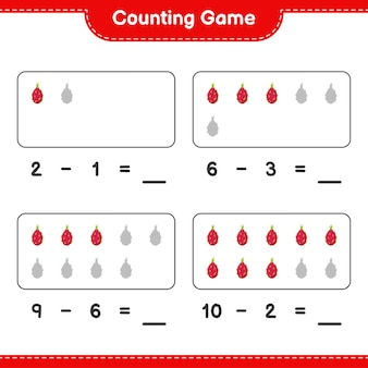 Contando il gioco, conta il numero di pitaya e scrivi il risultato. gioco educativo per bambini, foglio di lavoro stampabile