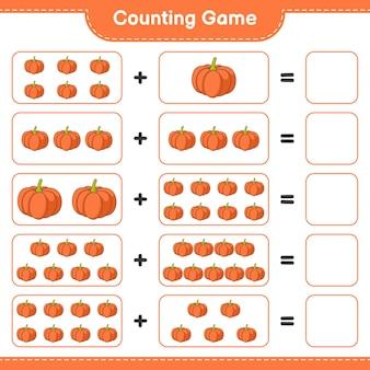 Conteggio del gioco, conta il numero di pumpkin e scrivi il risultato. gioco educativo per bambini, foglio di lavoro stampabile, illustrazione
