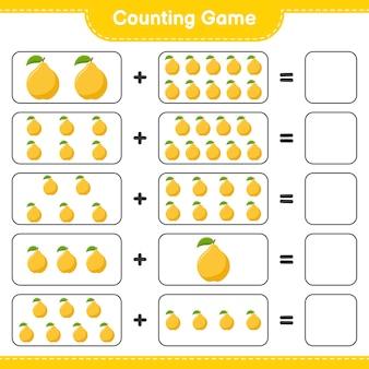 Conta il gioco, conta il numero di mele cotogne e scrivi il risultato.