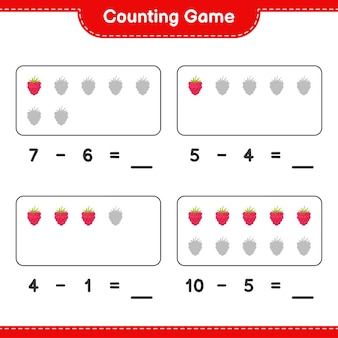 Conta il gioco, conta il numero di lamponi e scrivi il risultato. gioco educativo per bambini, foglio di lavoro stampabile