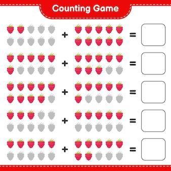 Conta il gioco, conta il numero di lamponi e scrivi il risultato.