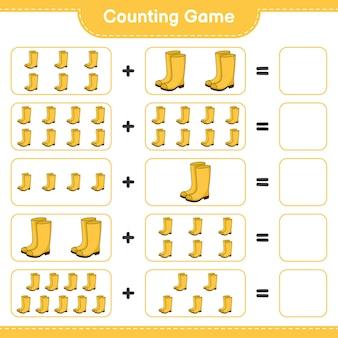 Conta il gioco, conta il numero di stivali di gomma e scrivi il risultato. gioco educativo per bambini, foglio di lavoro stampabile, illustrazione