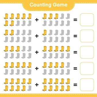 Conteggio del gioco, contare il numero di stivali di gomma e scrivere il risultato. gioco educativo per bambini, foglio di lavoro stampabile