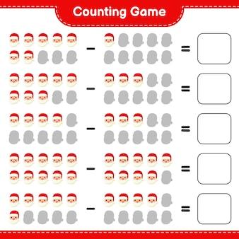 Conteggio del gioco, conta il numero di babbo natale e scrivi il risultato. gioco educativo per bambini