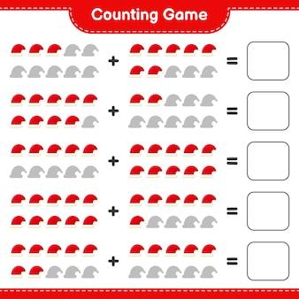 Conta il gioco, conta il numero di cappelli di babbo natale e scrivi il risultato. gioco educativo per bambini, foglio di lavoro stampabile