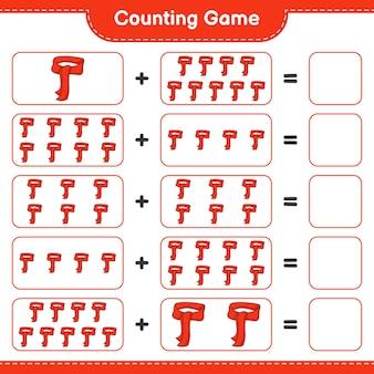 Conteggio del gioco, conta il numero di sciarpa e scrivi il risultato. gioco educativo per bambini, foglio di lavoro stampabile, illustrazione