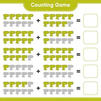 Conteggio del gioco, contare il numero di sciarpe e scrivere il risultato. gioco educativo per bambini, foglio di lavoro stampabile