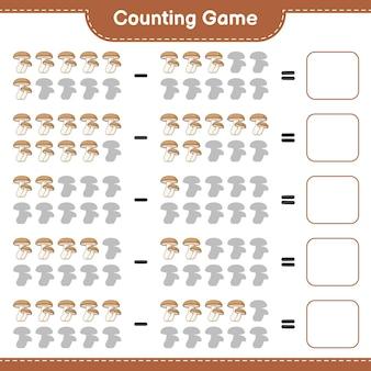 Conteggio del gioco, contare il numero di shiitake e scrivere il risultato. gioco educativo per bambini, foglio di lavoro stampabile