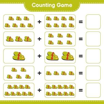 Conta il gioco, conta il numero di pantofole e scrivi il risultato. gioco educativo per bambini, foglio di lavoro stampabile, illustrazione
