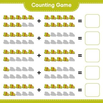 Conteggio del gioco, contare il numero di pantofole e scrivere il risultato. gioco educativo per bambini, foglio di lavoro stampabile
