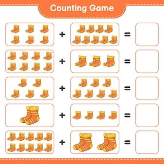 Conta il gioco, conta il numero di calzini e scrivi il risultato. gioco educativo per bambini, foglio di lavoro stampabile, illustrazione