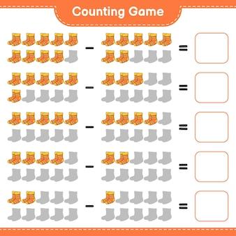 Conteggio del gioco, contare il numero di calzini e scrivere il risultato. gioco educativo per bambini, foglio di lavoro stampabile