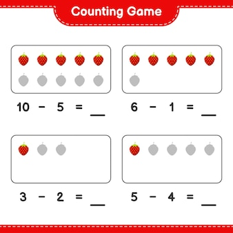 Contando il gioco, conta il numero di fragole e scrivi il risultato. gioco educativo per bambini, foglio di lavoro stampabile