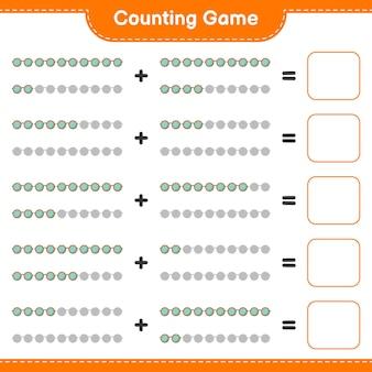 Contare il gioco conta il numero di occhiali da sole e scrivi il risultato gioco educativo per bambini