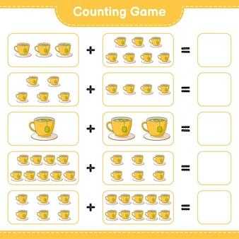 Conteggio del gioco, conta il numero di tazze da tè e scrivi il risultato. gioco educativo per bambini, foglio di lavoro stampabile, illustrazione