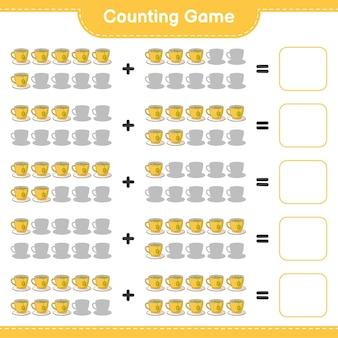 Conteggio del gioco, contare il numero di tea cup e scrivere il risultato. gioco educativo per bambini, foglio di lavoro stampabile