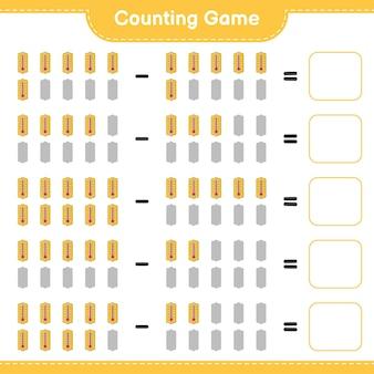 Gioco di conteggio, conta il numero di termometro e scrivi il risultato. gioco educativo per bambini, foglio di lavoro stampabile