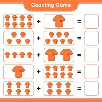 Conteggio del gioco, conta il numero di magliette e scrivi il risultato. gioco educativo per bambini, foglio di lavoro stampabile, illustrazione