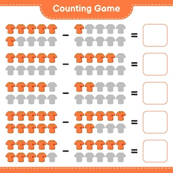 Conteggio del gioco, conta il numero di magliette e scrivi il risultato. gioco educativo per bambini, foglio di lavoro stampabile