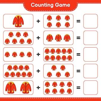 Conta il gioco, conta il numero di vestiti caldi e scrivi il risultato. gioco educativo per bambini, foglio di lavoro stampabile, illustrazione