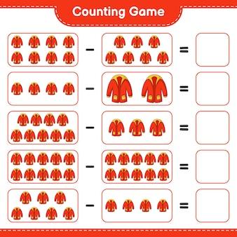 Conteggio del gioco, conta il numero di vestiti caldi e scrivi il risultato. gioco educativo per bambini, foglio di lavoro stampabile