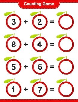 Conta il gioco, conta il numero di yumberry e scrivi il risultato. gioco educativo per bambini, foglio di lavoro stampabile