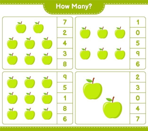 Conteggio del gioco, quante mele. gioco educativo per bambini, foglio di lavoro stampabile