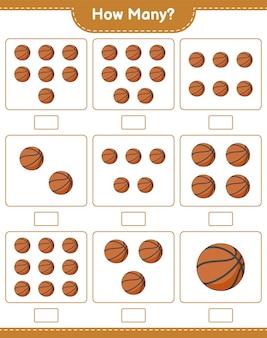 Gioco di conteggio quanti bambini gioco educativo di pallacanestro foglio di lavoro stampabile