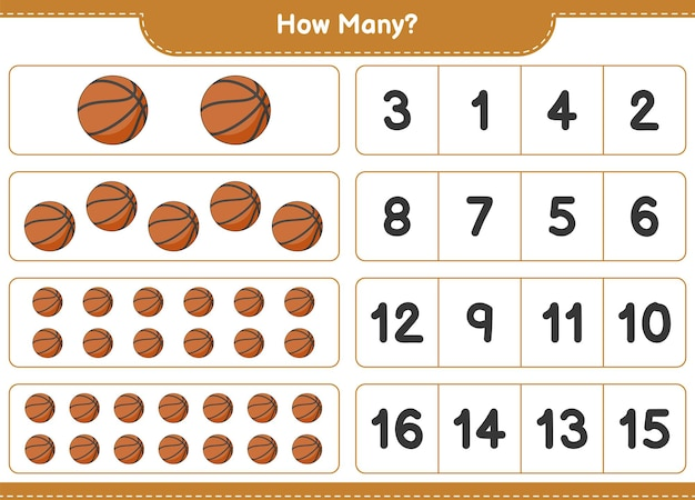 Conteggio del gioco, quanti basket. gioco educativo per bambini, foglio di lavoro stampabile, illustrazione vettoriale