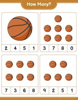 Gioco di conteggio quanti fogli di lavoro stampabili per giochi educativi per bambini di pallacanestro