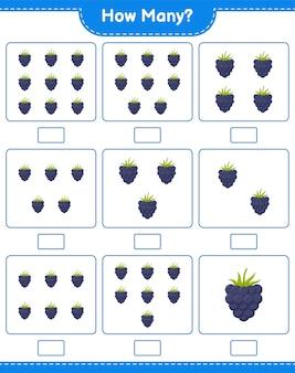 Conteggio del gioco, quanti blackberry. gioco educativo per bambini, foglio di lavoro stampabile