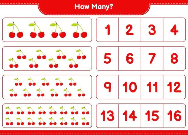 Conteggio del gioco, quante cherry. gioco educativo per bambini, foglio di lavoro stampabile